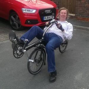 Me in my Challenge Hurricane Recumbent Bike